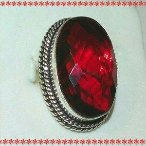 Gorgeous Garnet Handmade 925 Sterling Silver Ring
